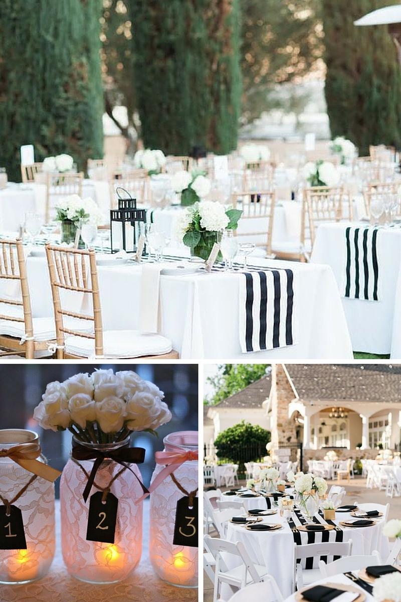 idees pour une decoration de mariage en noir et blanc