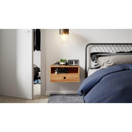 nightstand, floating nightstand, wooden nightstand, bedside table, wooden bedside table