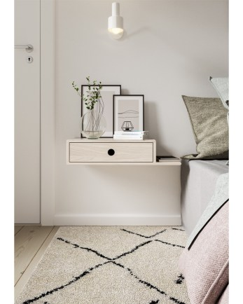 floating nightstand, wooden nightstand, bedside table, wooden bedside table