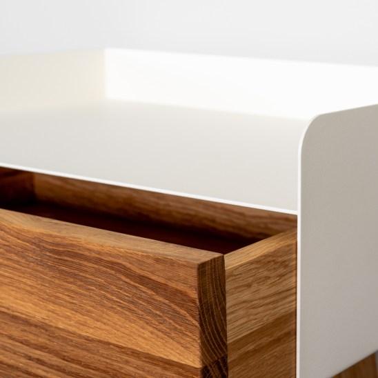 floating nightstand, kelluva yöpöytä, white nightstand, wooden nightstand, nightstand, oak nightstand, metal nightstand