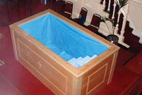 custom built wooden baptistery