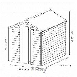 7x5 Overlap Wooden Garden Shed Single Door Apex Roof