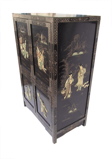 Oriental Cabinet Black Lacquer Wooden Nickel Antiques