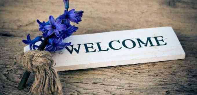 welcome writing and hyacinth