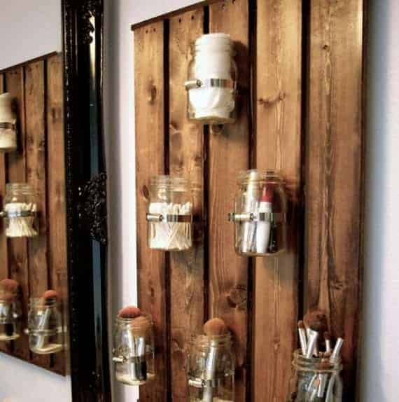 vanity wall shelf with jars
