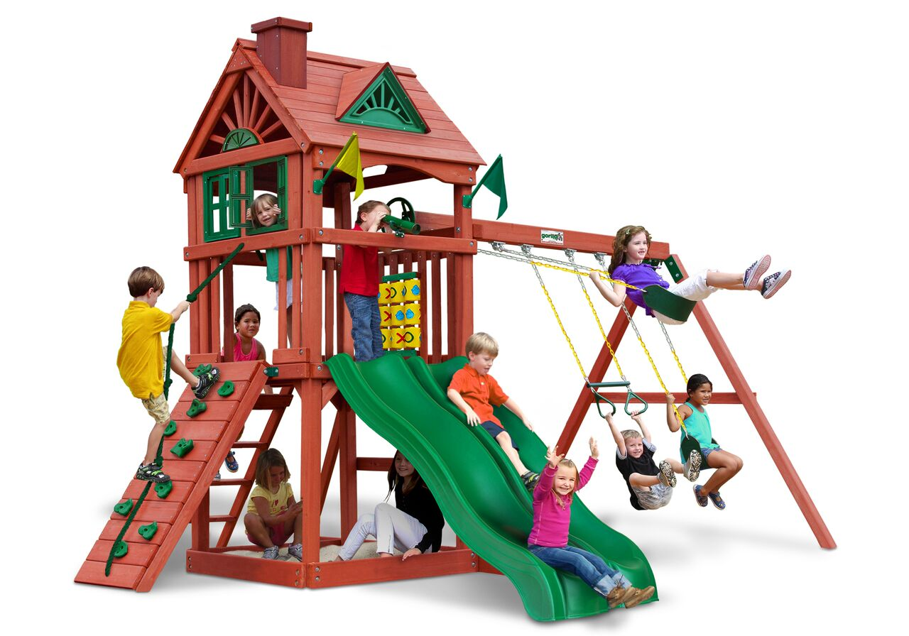 Gorilla Playsets Double Down Wooden Swing Set With Wood
