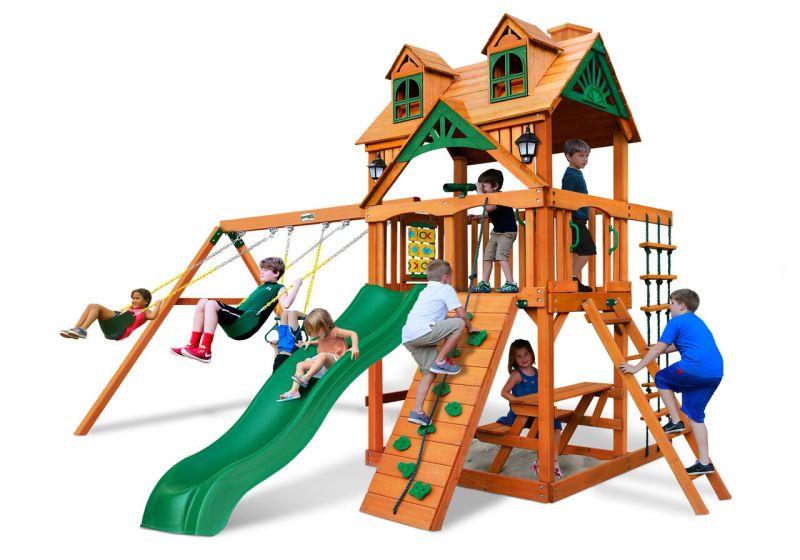 Gorilla Playsets Chateau w/Malibu Wood Roof Wooden Swingset