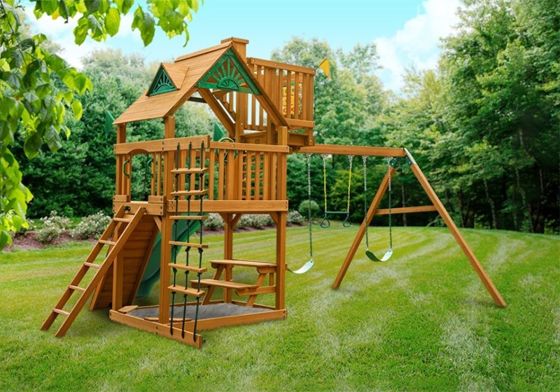 Gorilla Playsets Chateau with Sky Loft - Back View