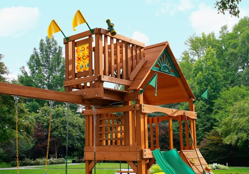 Gorilla Playsets Chateau with Sky Loft - Front View