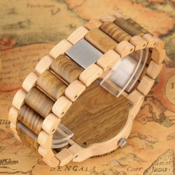 Quartz Wood Watch for Men Natural Maple Strap Wooden Watches for Female Luminous Pointers Wooden Wristwatch relogios masculinos 3