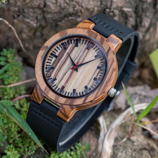 BOBO BIRD Promotion Wood Watch Casual Wristwatch relogio Leather Band To Him Christmas Gift Birthday Present Accept Dropship 2