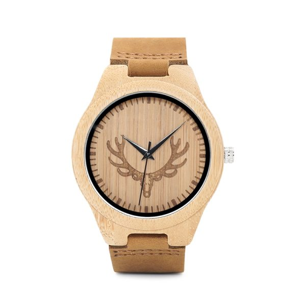 BOBO BIRD WM08 Mens Deer Head Design Buck Bamboo Wooden Watches Luxury Wood Watches With Soft Leather Strap for Men Women 3