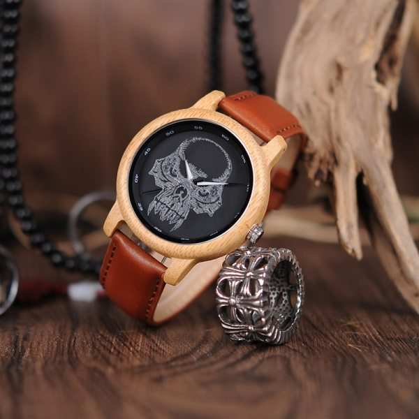 BOBO BIRD Promotion Wood Watch Casual Wristwatch relogio Leather Band To Him Christmas Gift Birthday Present Accept Dropship 5