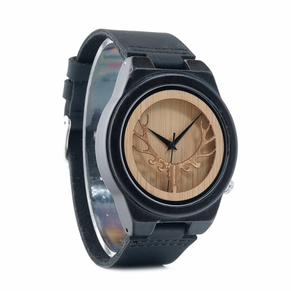 BOBO BIRD WB18 Deer Skeleton Black Wood Watches Leather Band Mens Top Brand Quartz Watches With Wooden Box relogio OEM 3