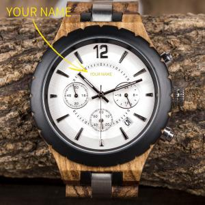 BOBO BIRD Personalized Men Watch Luxury Elegant Customized Wristwatch Wood Metal Chronograph Auto Date Display reloj hombre 1