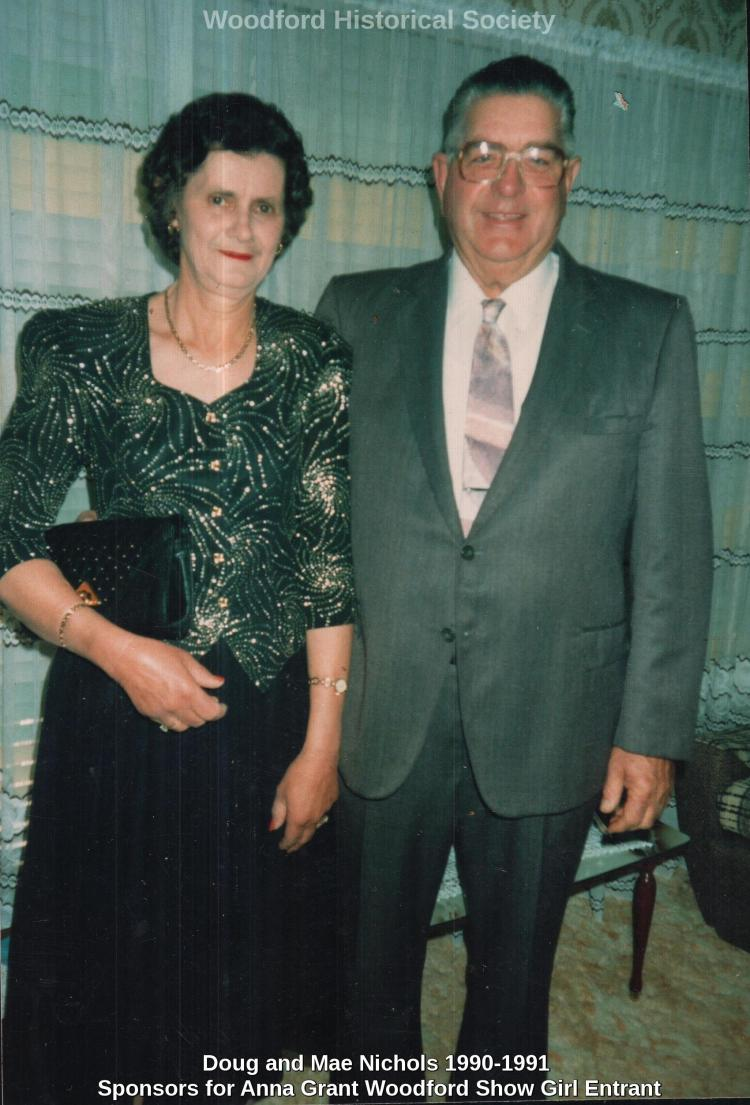 Doug and Mae Nichols 1990-1991 Sponsors for Anna Grant Woodford Show Girl Entrant wm