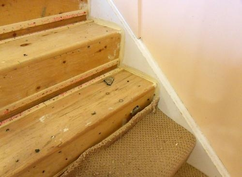 New Treads For Old Stairs | Wedge Shaped Carpet Stair Treads | Beige | Spiral Stairs | Wood | Adhesive Carpet | Flooring