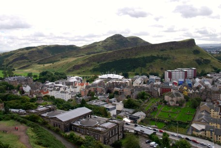 Looking at Holyrood Park and King Arthur's Seat from Calton Hill