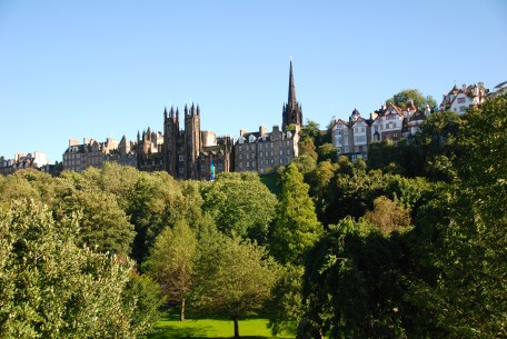 Historic Edinburgh as seen from Princes Street.