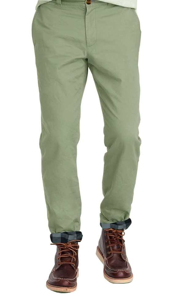 Olive Flannel Lined Stretch Chino Tailor Woodiesclo