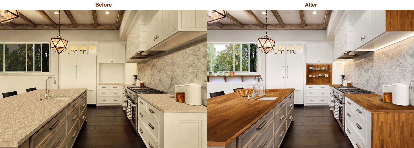 wood kitchen counters cost of new interbuild acacia hardwood countertops and where to purchase before after