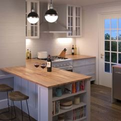 Kitchen Island Top Track Lighting For Kitchens Interbuild 74 Inch X 40 1 5 Acacia Wood Picture Of Light
