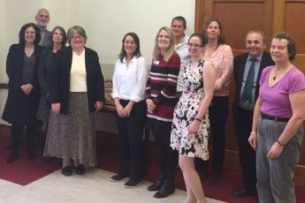 Photo of UK Environment Ministers and staff and students at Bangor University