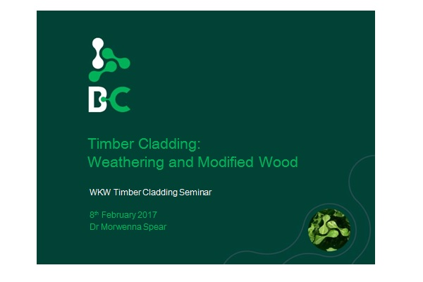 First slide of presentation by Morwenna Spear on timber cladding