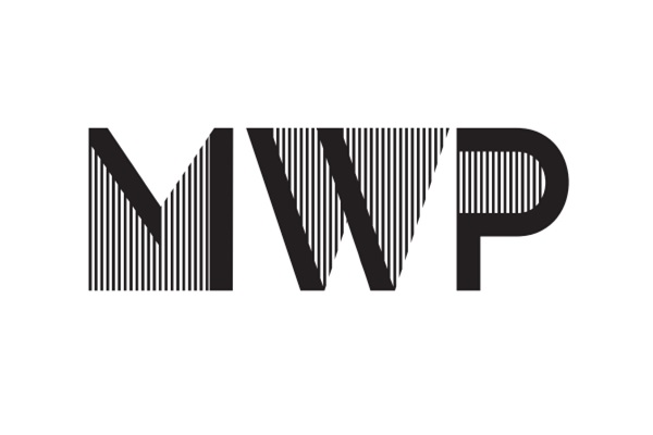 Logo with letters W, W and P half solid black lines with striped infill.