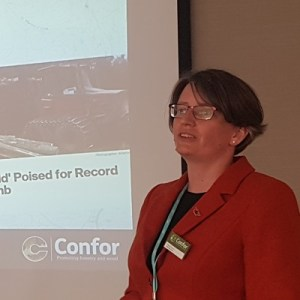 Photo of Eleanor Harris, Confor, giving a presentation