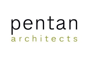 "White background. name of company ""Pentan architects"" in simple clean lower case letters"