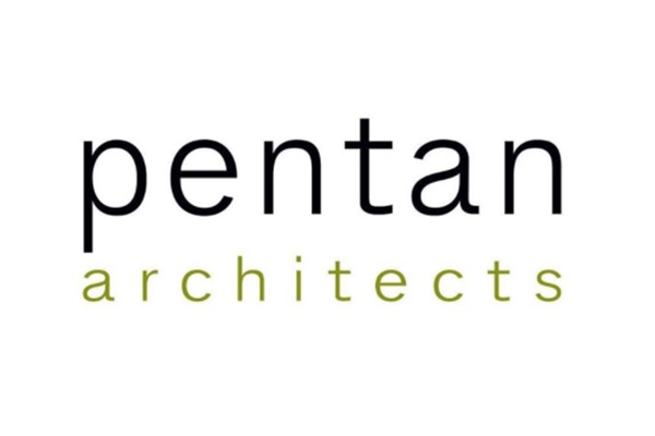 """White background. name of company """"Pentan architects"""" in simple clean lower case letters"""