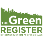 Logo for the Green Register of construction professionals. Green and white colour scheme