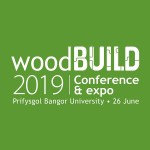 "Green box with white text ""WoodBUILD 2019"""