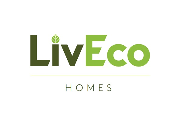 Logo for Liv Eco. Liv in Black letters with leaf on the dot of the I. Eco in Green