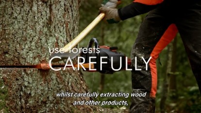 Human cutting down a tree with captiono 'use forests CAREFULLY'
