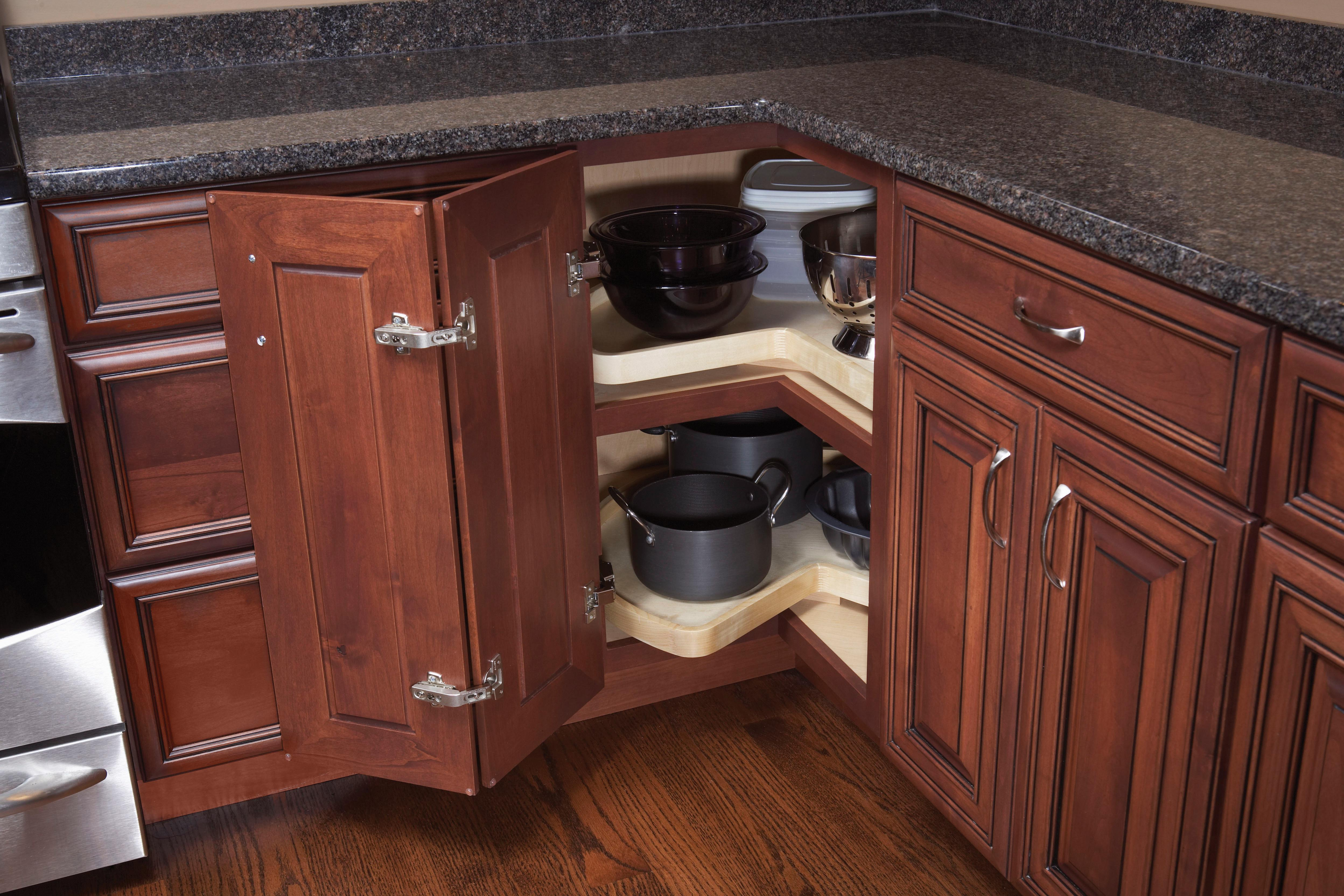 Blind Corner with Super Susan Trays  Woodland Cabinetry