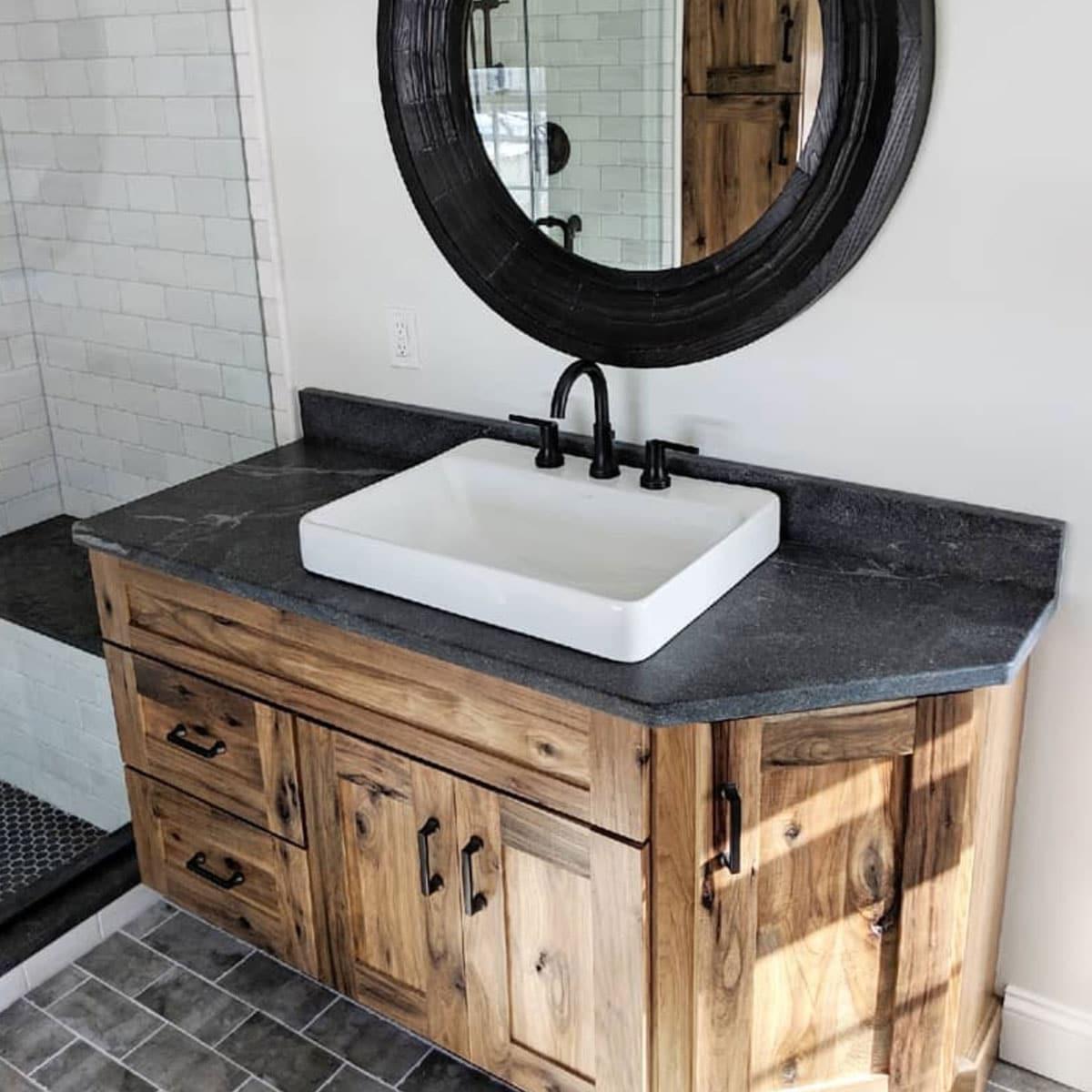 rustic bathroom vanity woodland cabinetry