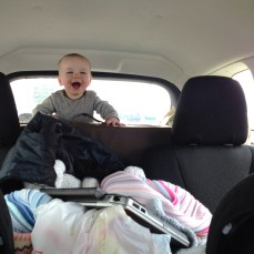 Rowan got antsy in the car so he spent our lunch break in the trunk. He was very excited.