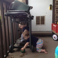 I'm not sure why I'm so worried about finding a house with a yard. These kids are so happy with a rusty old grill!