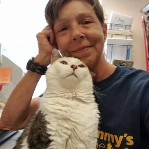 Lora Muckin with cat