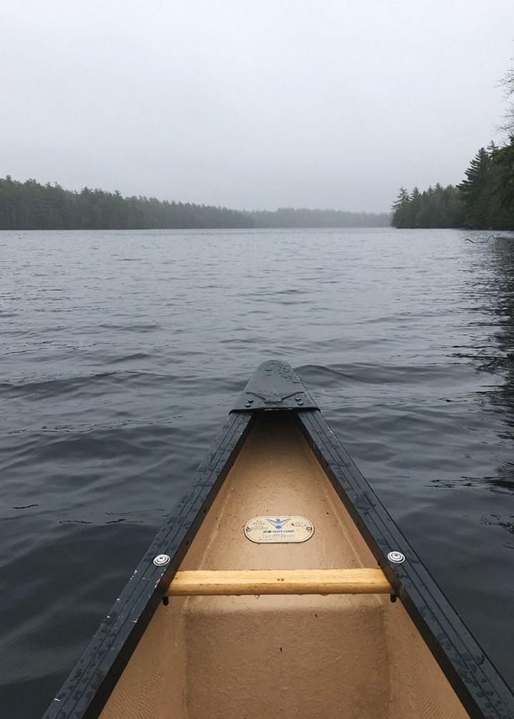 Inside the canoe on Big Dam Lake.