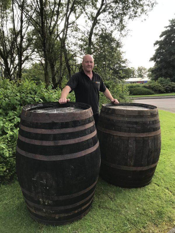 large whole oak whisky barrel