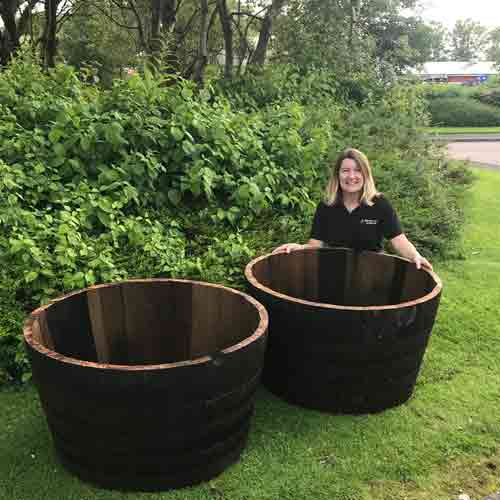 large half whisky barrel planter tubs