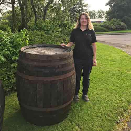 large whole whisky barrel