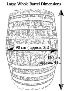 whole whisky barrels dimensions 90cm wide 120cm high
