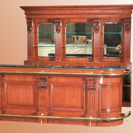 Bar 246REV – 8.5 ft. Oak Wood Cocktail Bar with Marble Top