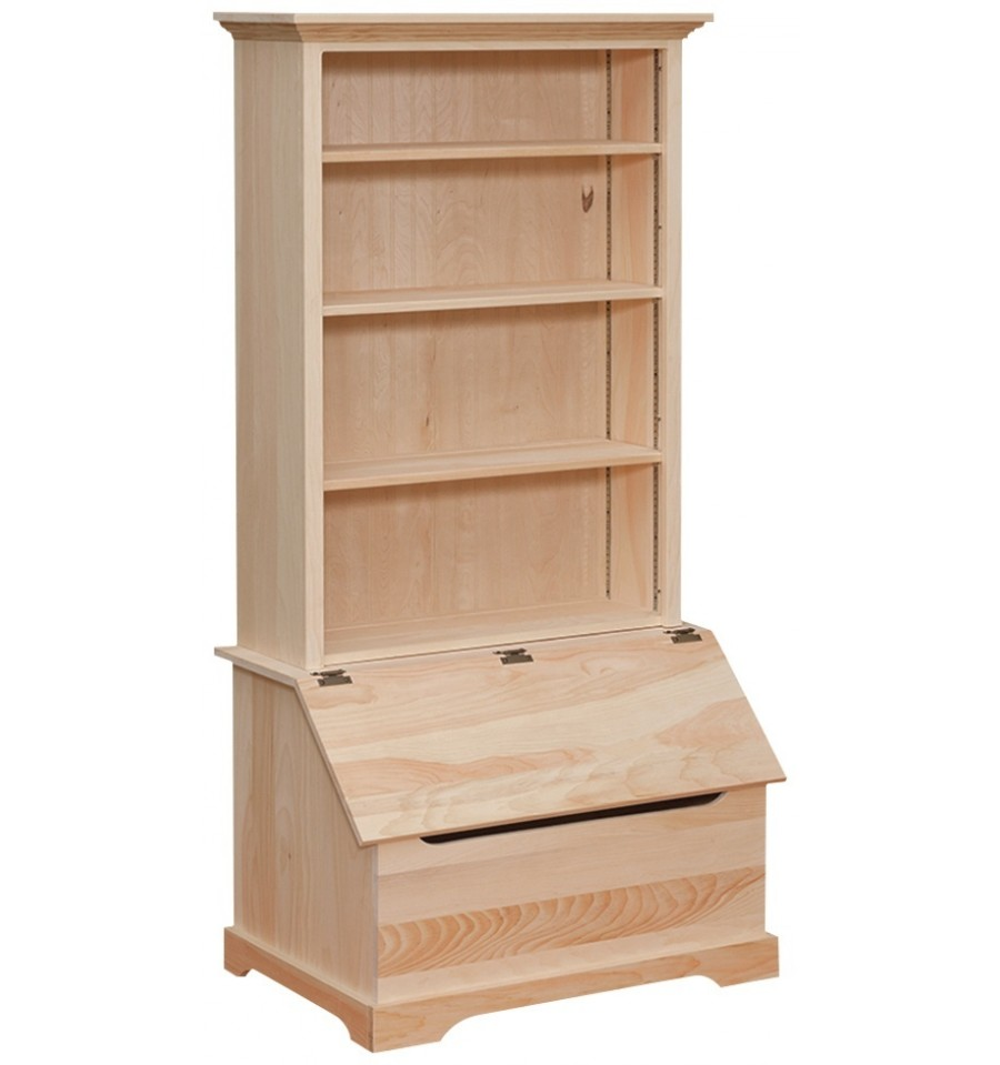 wooden toy chest with bookshelf