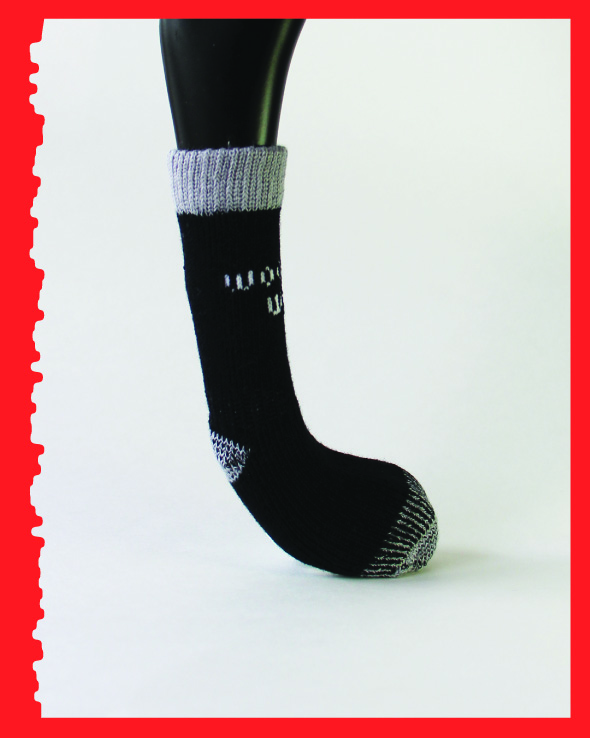 Greyhound Edition, Reinforced Foot, black/grey, side view.