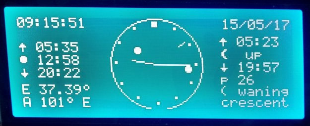 Analogue clock with additional moon phase icons